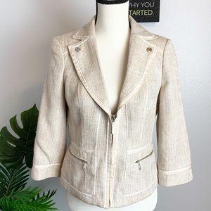 WHBM  Tan Cream Tweed woven Blazer in off-white